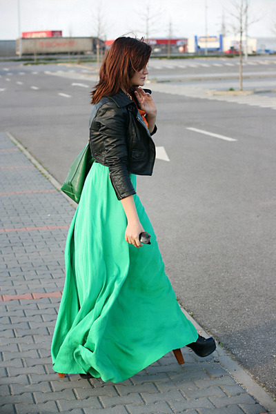 green maxi handmade skirt - black lita Jeffrey Campell shoes