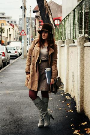 brown vintage skirt - silver Stradivarius boots - beige Zara blouse - brown coat