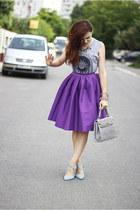 purple midi Sheinside skirt - sky blue suede Zara shoes