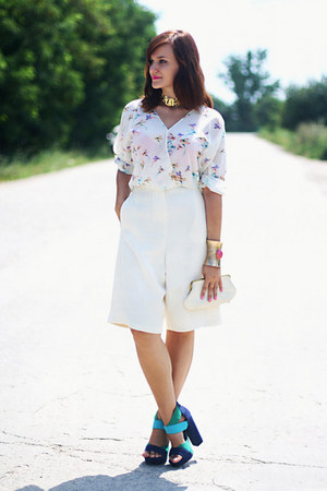 white birds print OASAP blouse - ivory vintage purse - teal suede asos sandals