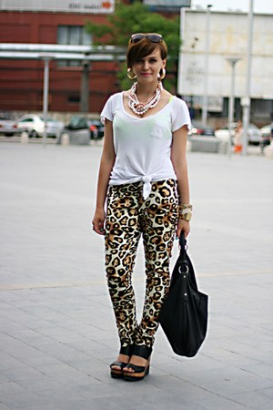 leopard print no name pants - black Steve Madden sandals