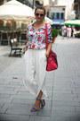 White-flower-print-oasap-shirt-hot-pink-suede-oasap-bag
