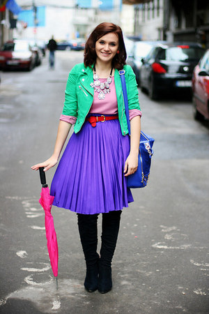 violet pleated no name skirt - chartreuse suede H&amp;M jacket - blue OASAP bag