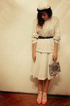 cream vintage skirt - cream Cacharel sweater - bubble gum Stradivarius shoes - v