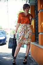 white printed vintage skirt - black Giuseppe Zanotti shoes