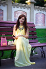 Light-yellow-maxi-oasap-dress-gold-statement-oasap-necklace