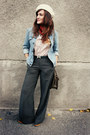 Gray-mango-pants-forest-green-hermes-belt-light-blue-levis-jacket-brick-re