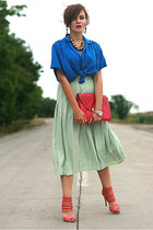 blue vintage shirt - hot pink asos bag - bubble gum Zara sandals - lime green pl