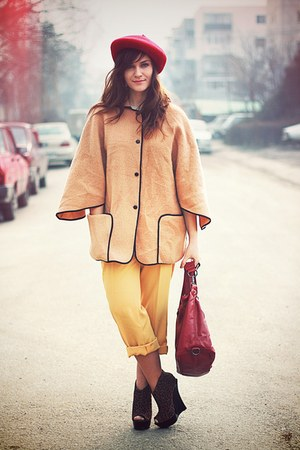 ruby red Mango bag - brown light vintage cape - leopard print asos wedges - yell