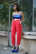 coral vintage pants - blue asos shoes - blue sequined no brand top