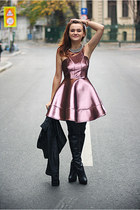 black over the knee new look boots - pink metallic Topshop dress