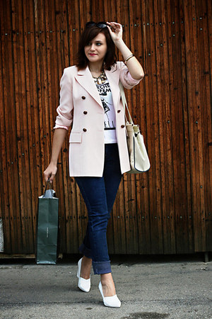 light pink vintage blazer - white H&amp;M shoes
