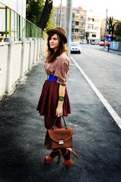 red vintage skirt - brown Jessica Simpson shoes - brown vintage shirt