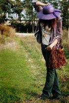 green Bershka jeans - purple Debenhams blazer - purple vintage hat - random bran