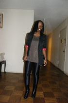 black Topshop blazer - gold Forever21 blouse - black American Apparel pants - bl