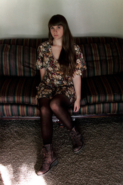 crimson floral thrifted dress - brown boots - dark brown tights