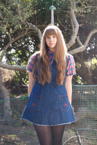 red plaid thrifted top - blue denim reconstructed vintage dress