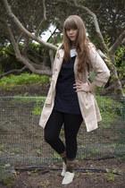 beige coat - ivory shoes - navy dress - Topshop leggings - black wool socks