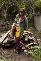 mustard corduroy JCrew skirt - black boots - olive green Anthropologie jacket