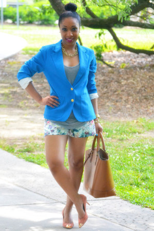 Alexander Wang top - Forever 21 blazer - Zara bag - floral Zara shorts
