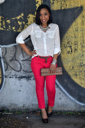 red skinny Love Culture jeans - clutch Aldo purse - Forever 21 blouse
