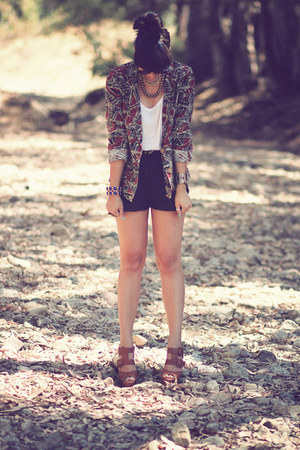tawny woodies Jeffery  Campbell heels - tribal Forever21 blazer