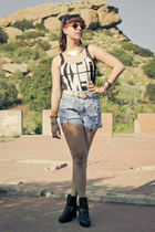 gold Accessorize necklace - Dolcetta boots - diy vintage shorts