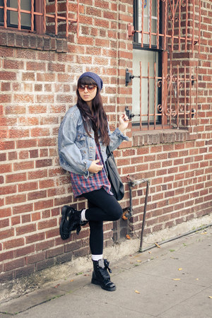denim vintage jacket - Dr Martens boots - lazy beanie H&M hat