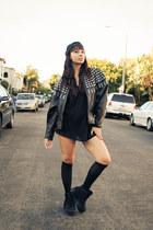 leather studs vintage jacket - homg Jeffery Campbell shoes - vintage intimate
