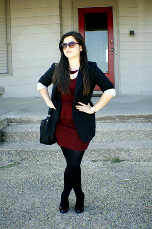 Michael Kors watch - burgandy peplum Forever 21 dress
