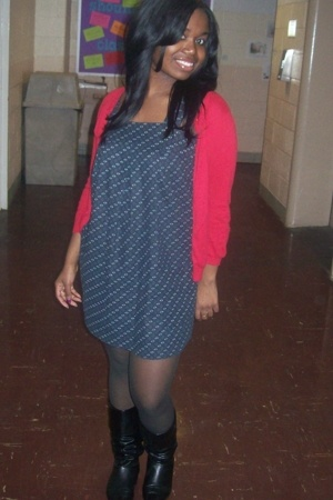 forever 21 sweater - Wal Mart dress - dollar store stockings - Ross boots