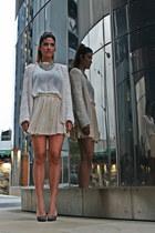 bubble gum Topshop necklace - off white Zara blazer - ivory Zara skirt