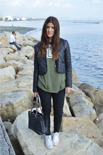black Alexander Wang jacket - black Chanel bag - olive green Primark t-shirt