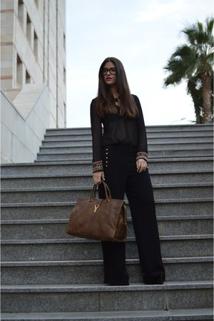black Zara shirt - dark brown Saint Laurent Paris bag - black Zara pants