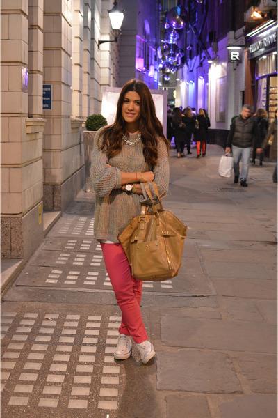 camel Saint Laurent bag - bubble gum Topshop jumper - white Converse sneakers