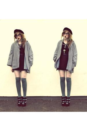 black Dorothy Perkins dress - heather gray vintage from Ebay coat