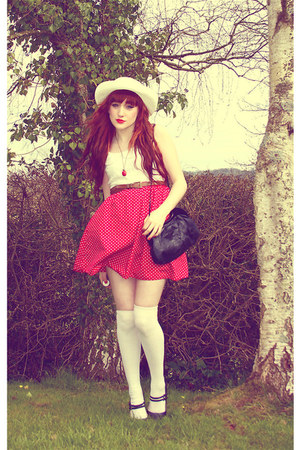 red red polka dot Primark skirt - ivory Chicwish dress