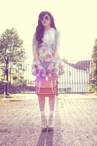 sky blue DIY skirt - salmon OASAP bag - off white DIY socks