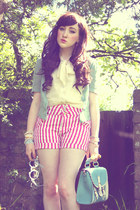 turquoise blue OASAP bag - bubble gum AX Paris shorts
