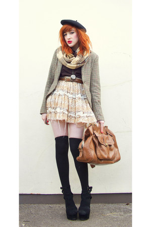 black black Black Wedges wedges - camel check brown scoodie scarf