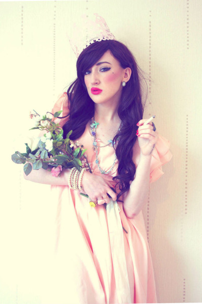 light pink Chicwish dress - light pink pink crown meadham kirchhoff hat