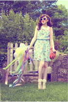 periwinkle Primark dress - salmon OASAP bag - white Urban Outfitters sunglasses