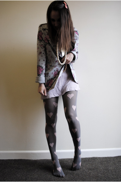 pink Topshop tights - purple H&M dress - silver new look blazer