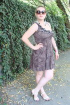 brown leopard print pull&bear dress - cream Mango bag - brown H&M sunglasses