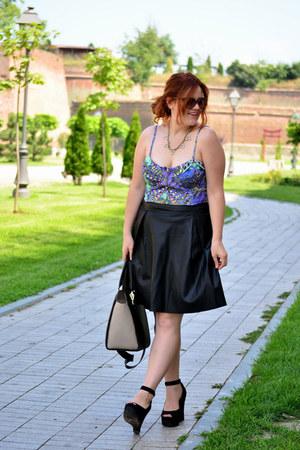 black leather Orsay skirt - navy crop H&M top - black Kittens wedges