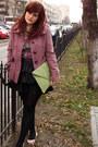 Hot-pink-floral-orsay-dress-pink-orsay-coat-lime-green-clutch-asos-bag