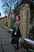 white zebra print PERSUNMALL shirt - H&M bag - black leather skirt Orsay skirt