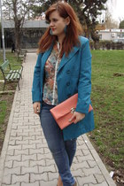 teal aggressive coat - H&M jeans - coral new look bag