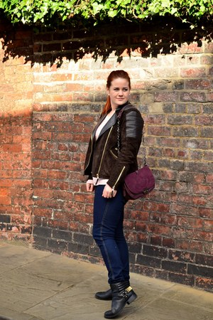 black biker H&M boots - H&M jeans - dark brown Mango jacket - maroon Motivi bag