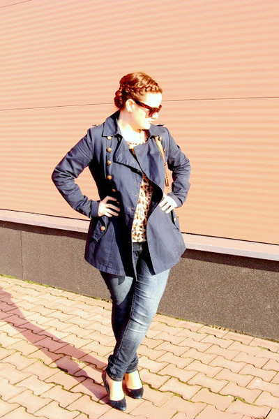 navy Zara coat - Orsay jeans - c&a sunglasses